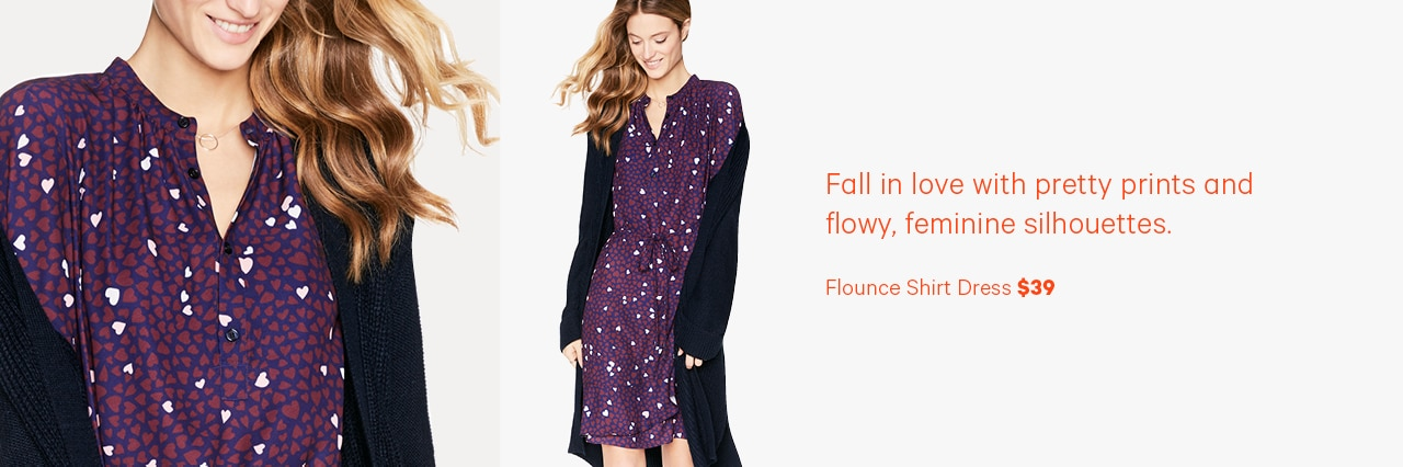 Fall in love with pretty prints and flowy, feminine silhouettes