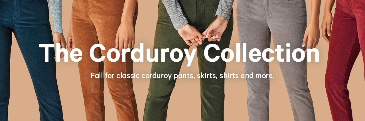 Women's corduroy bottoms, shirts, skirts and more
