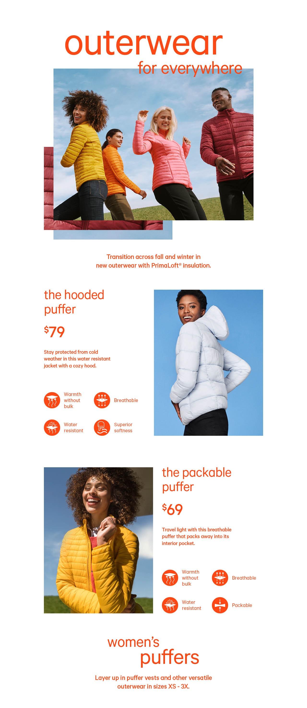 Women's primaloft puffer coats