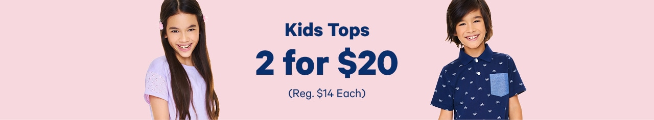 kids tops 2 for 20 dollars