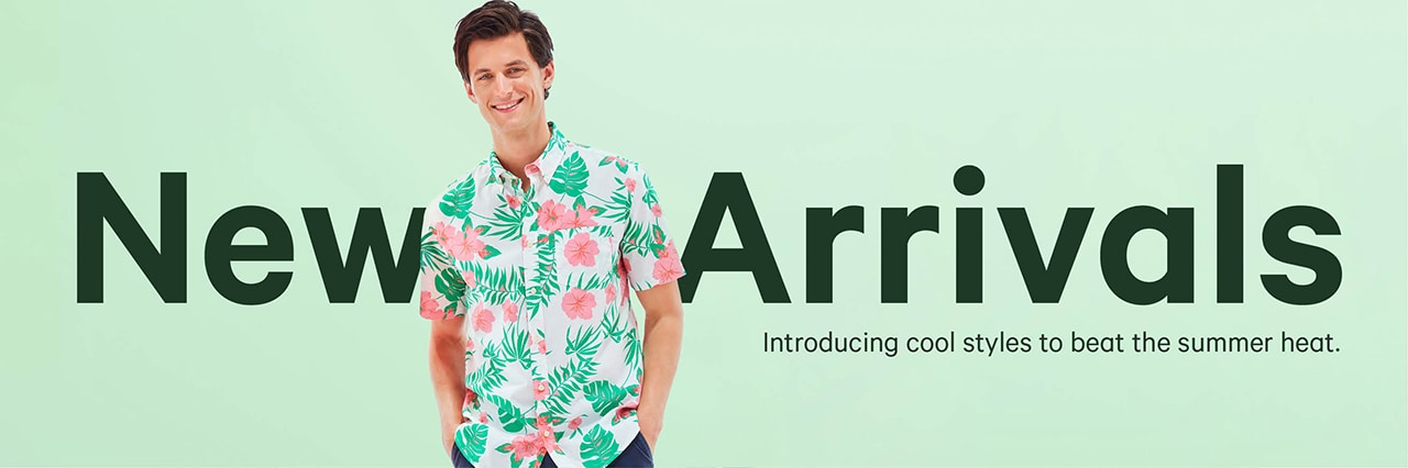 Mens new summer arrivals. Cool styles for the summer heat