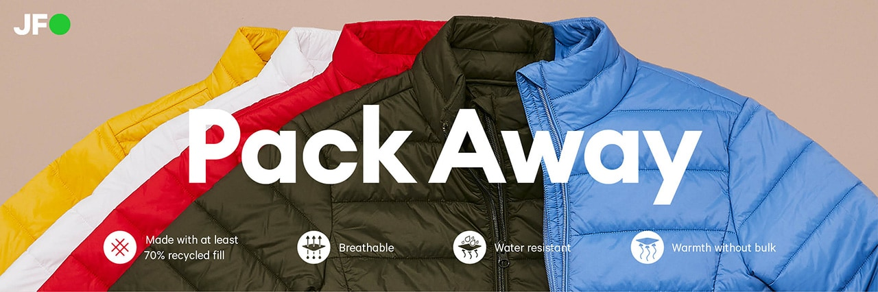 Pack away. Women's packable puffer coats. Made with 70% recycle fill. breathable, water resistant, warmth without bulk.