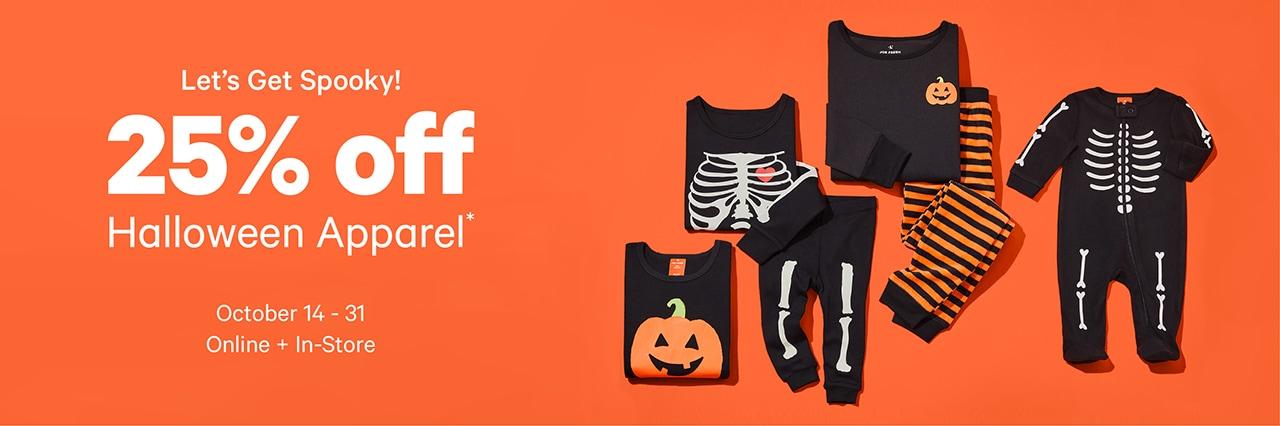 25% off halloween apparel until October 31.