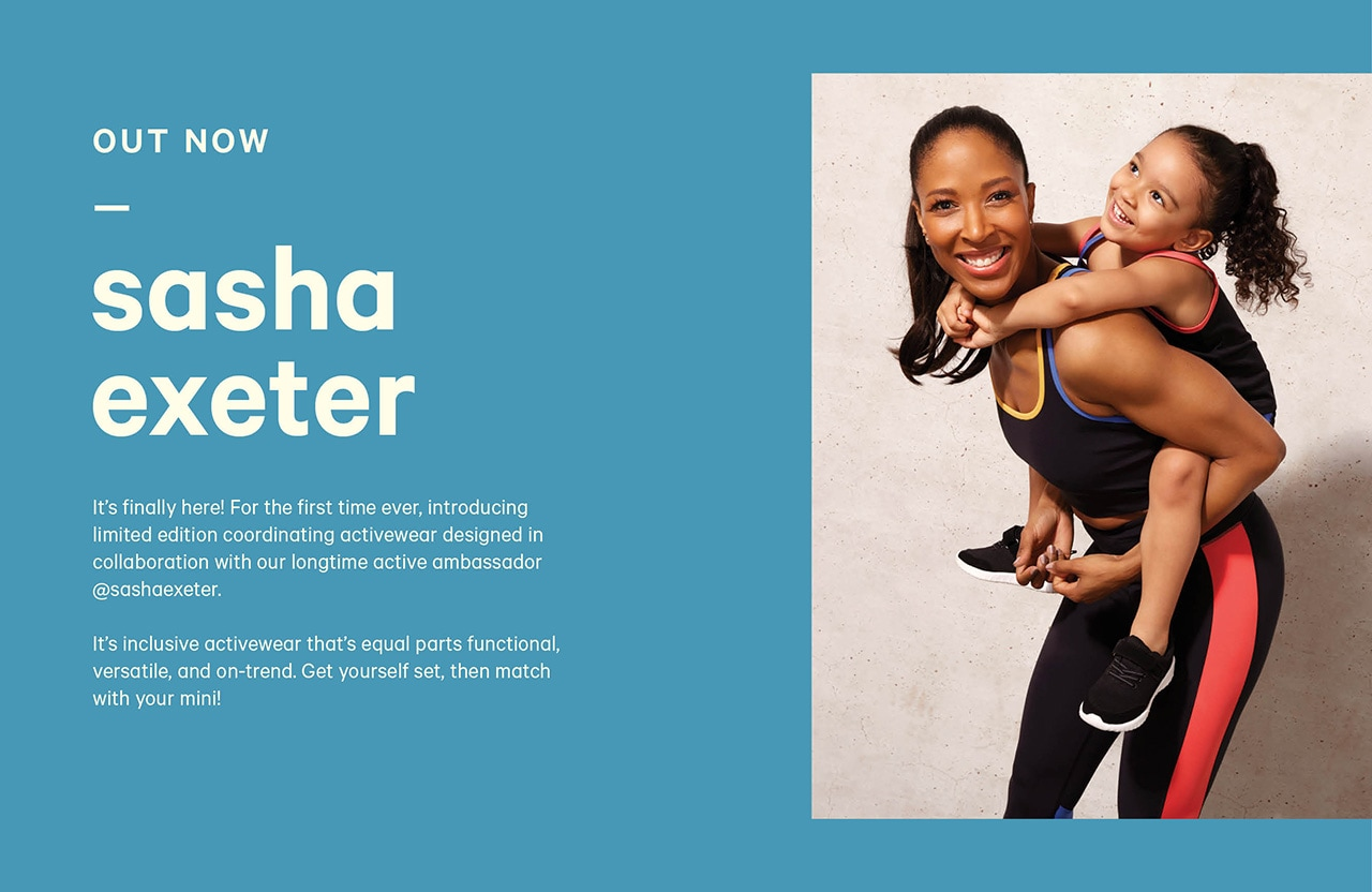 Introducing limited edition coordinating activewear designed in collaboration with Sasha Exeter. Inclusive, functional and versatile.