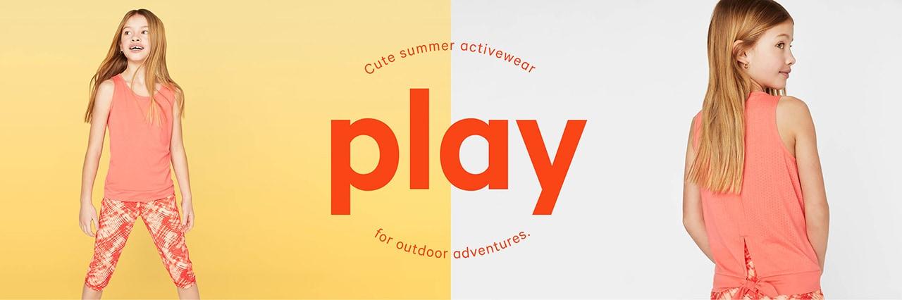 Cute girl summer activewear for outdoor adventures.