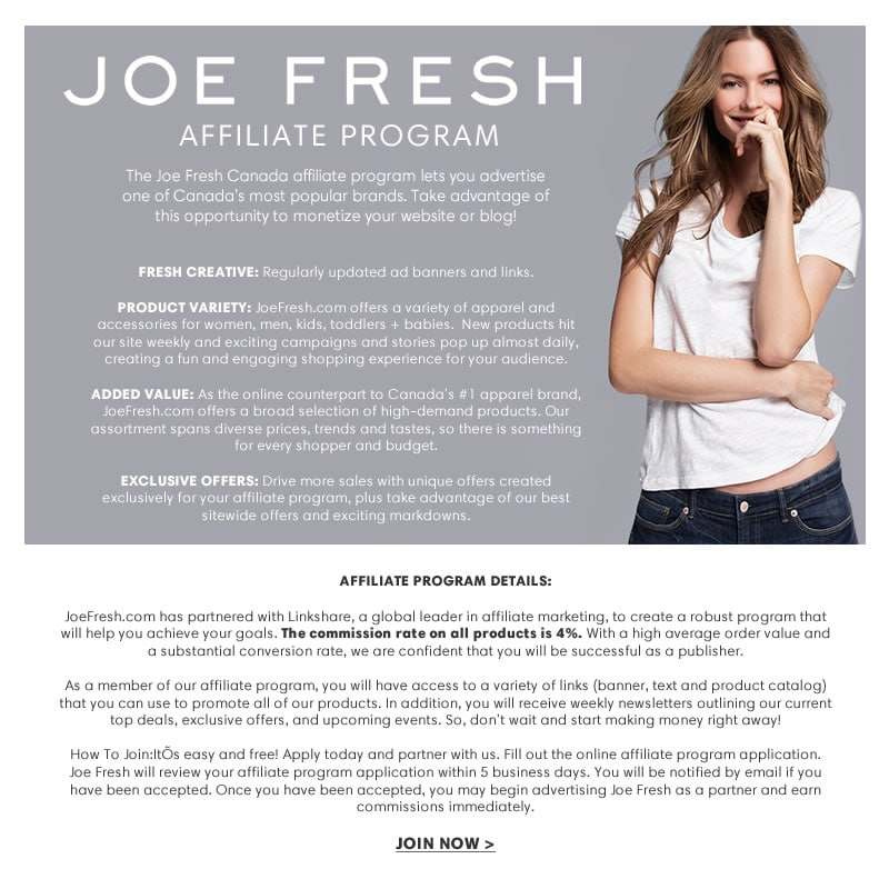 Become an Affiliate - JoeFresh.com