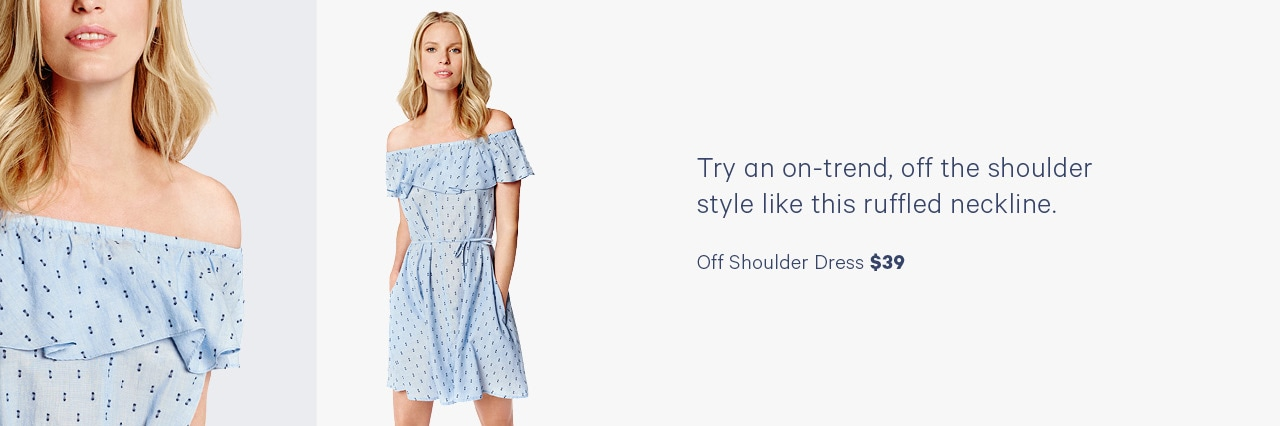 Try an on-trend, off the shoulder style like this ruffled neckline.