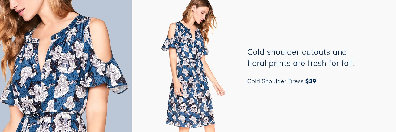 Cold shoulder cutouts and floral prints are fresh for fall