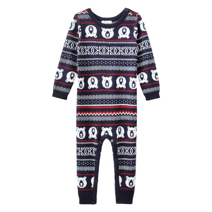 Baby Boys' Fair Isle Sweater Romper in JF Midnight Blue from Joe Fresh