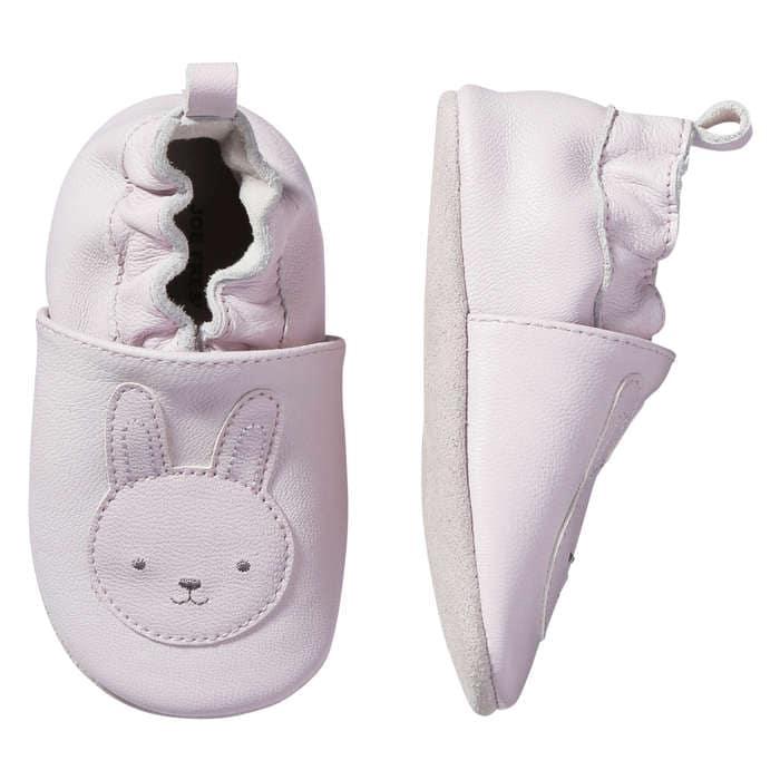 Baby Girls' Bunny Print Leather Slip Ons