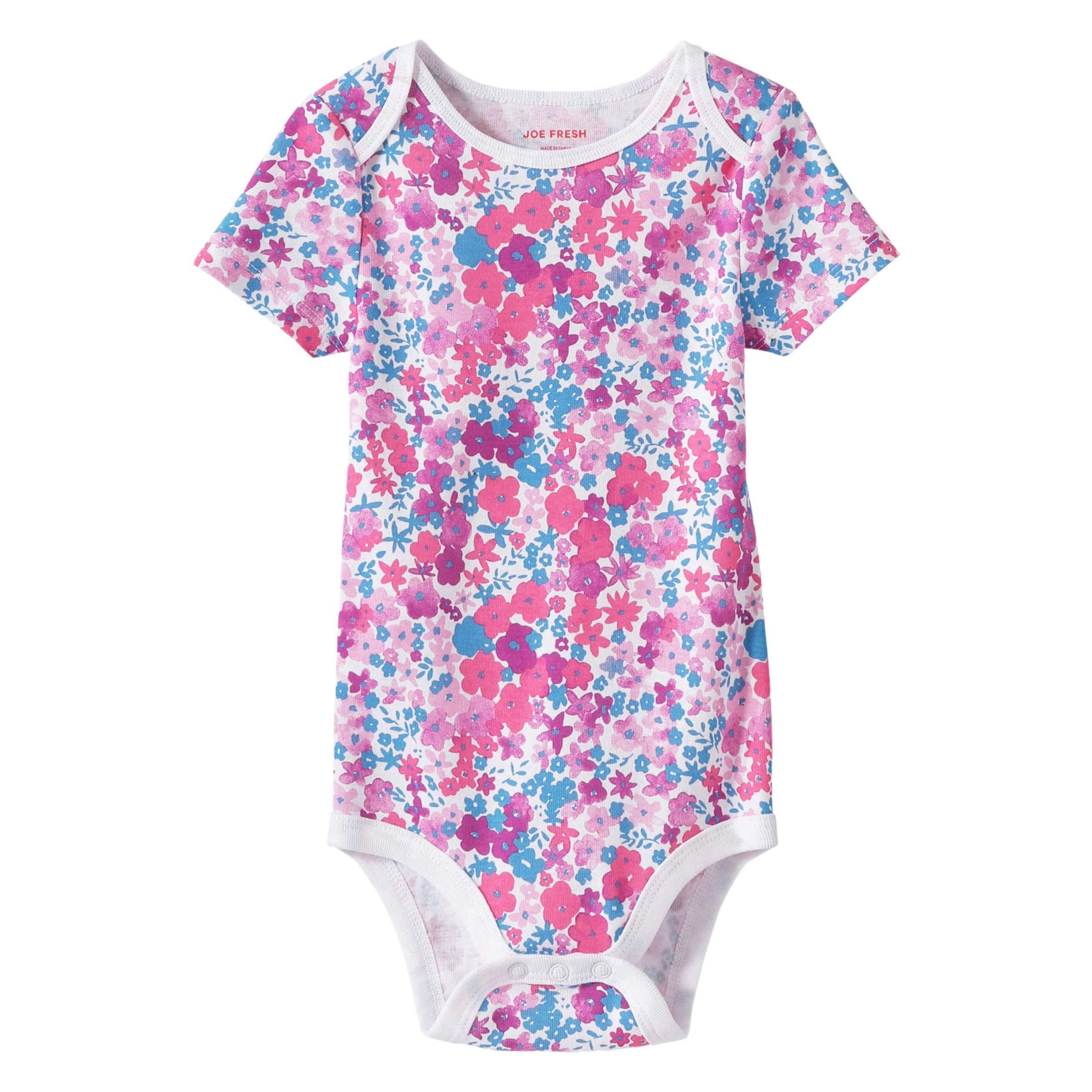 1224149095 Baby Girls' Essential Print Bodysuit in Pink from Joe Fresh