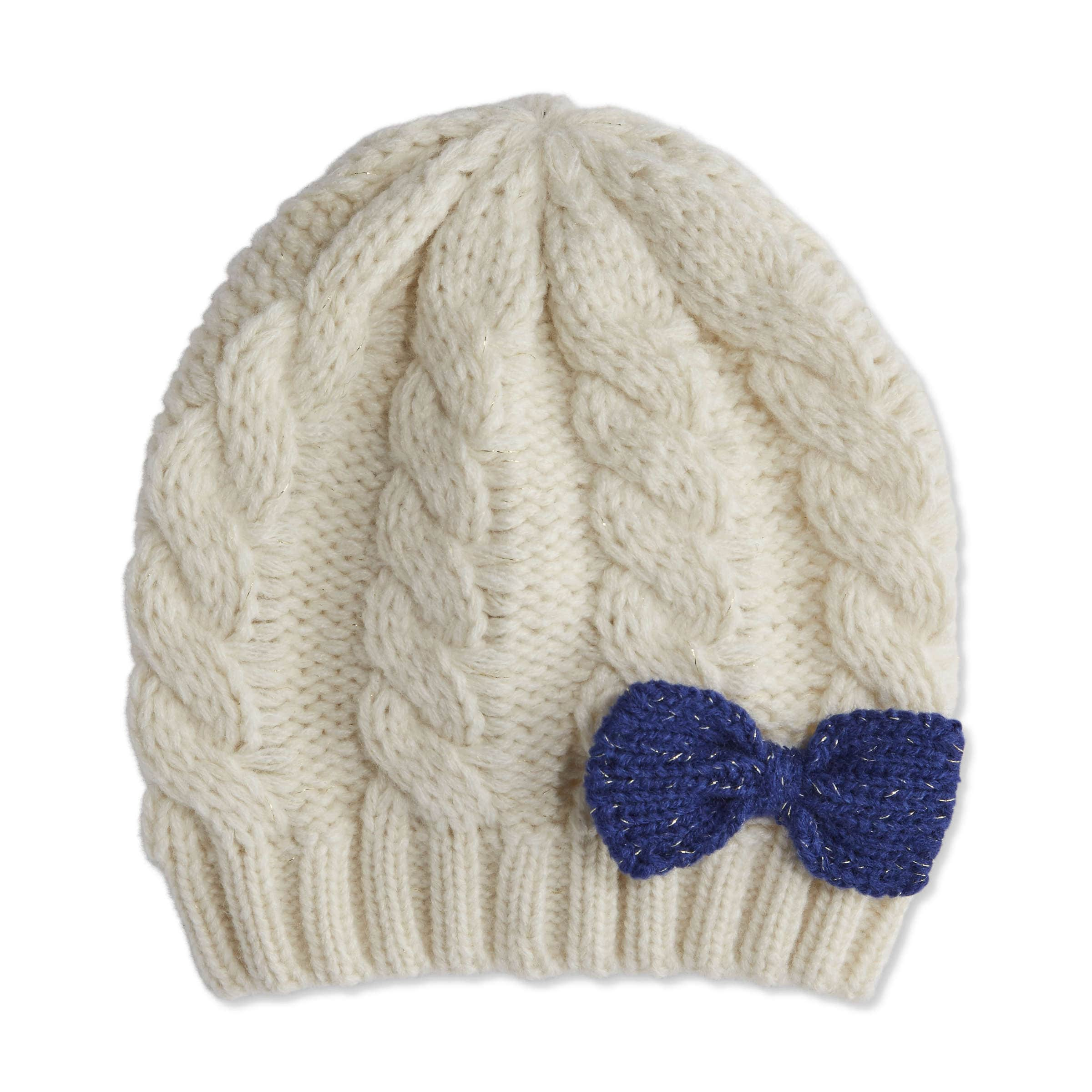 Baby Girls  Bow Cable Knit Beanie in Ecru from Joe Fresh 29a29237347