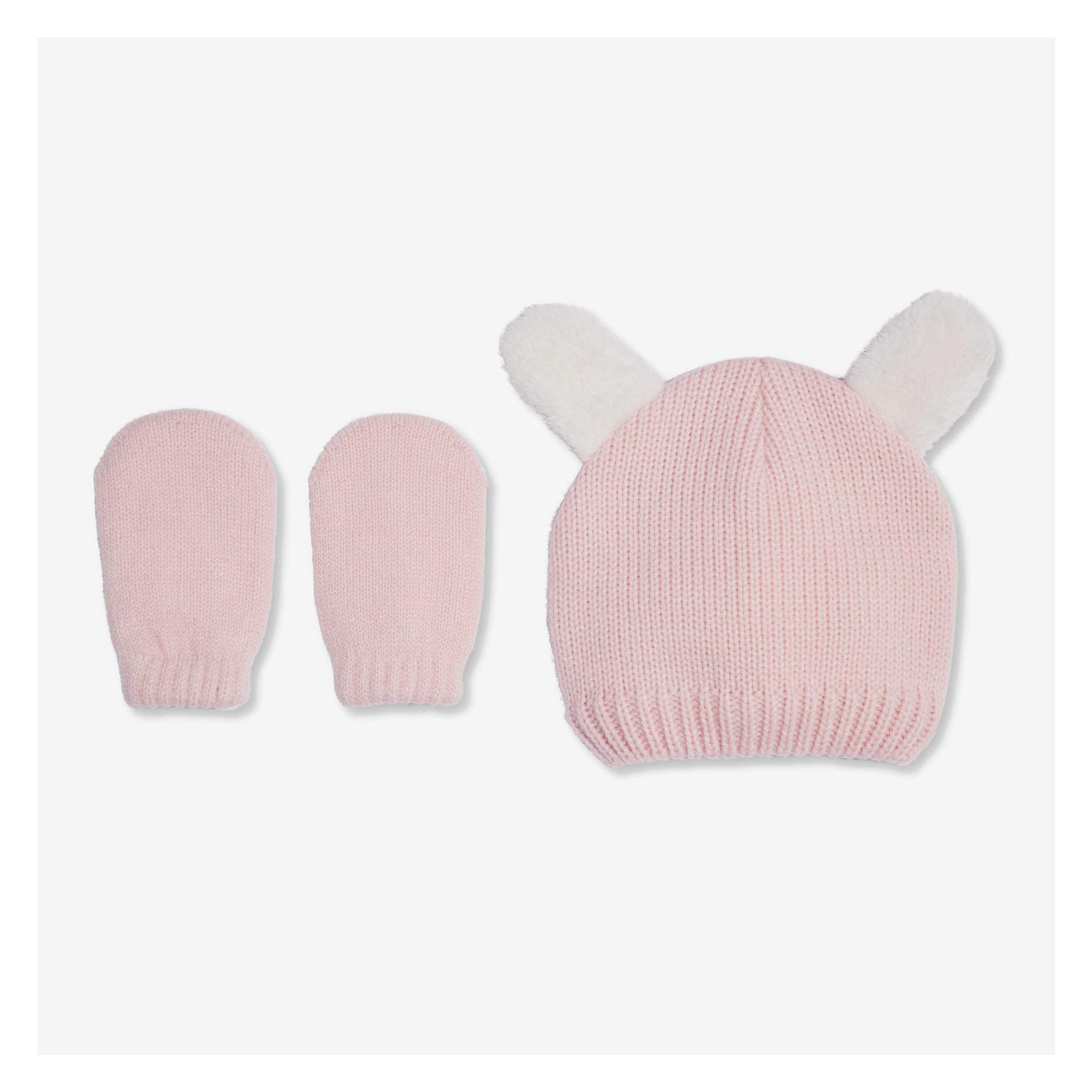 0bed0b2e87a Baby Girls  2 Piece Hat and Mitt Set in Pale Pink from Joe Fresh