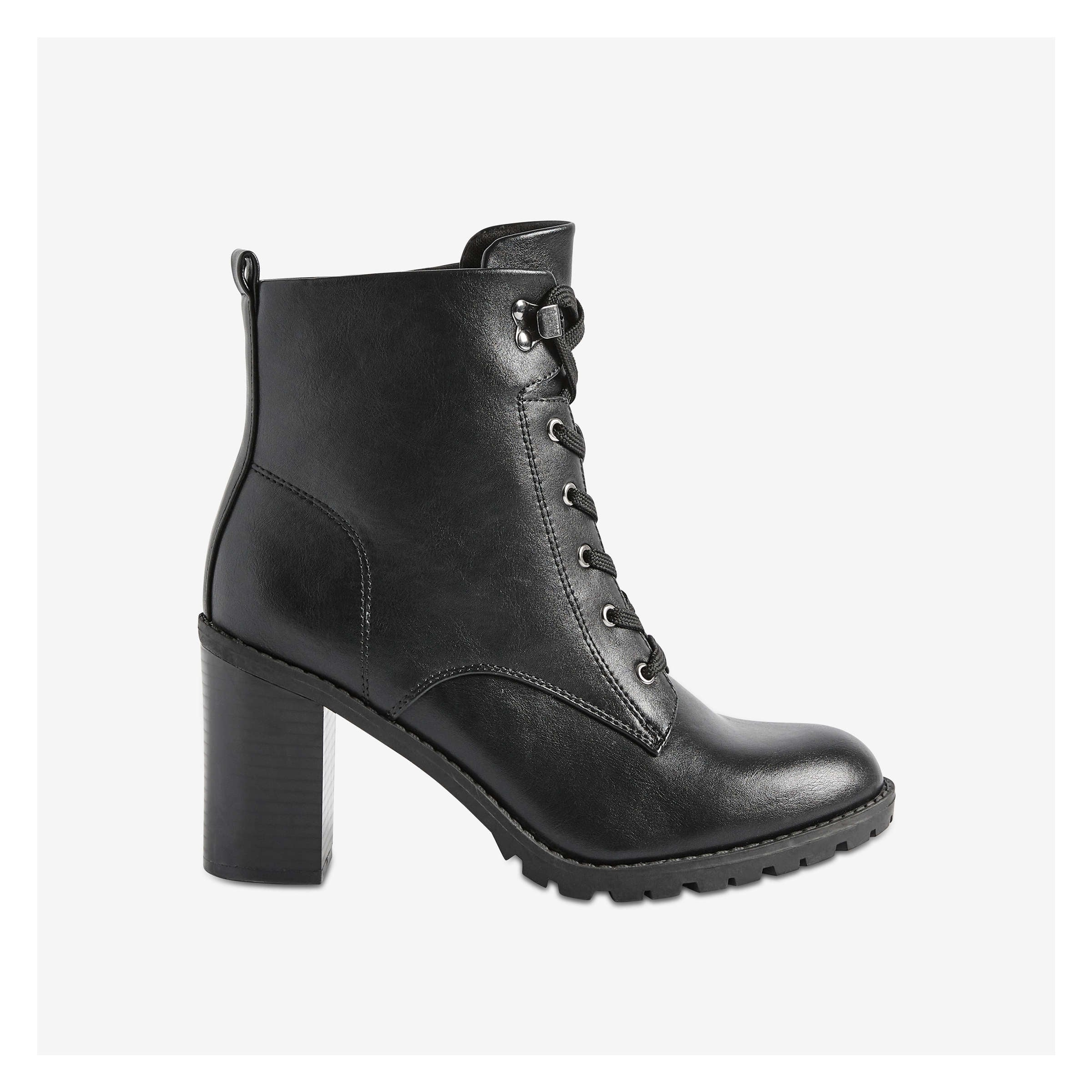 Heeled Lace Up Boots by Joe Fresh
