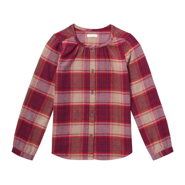 Kid girls plaid flannel shirt in burgundy from joe fresh for Girl in flannel shirt