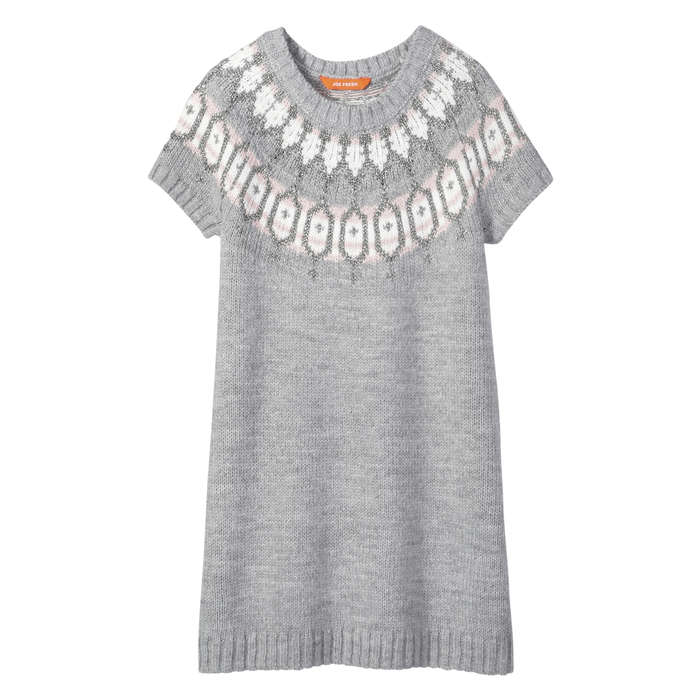 Kid Girls' Fair Isle Sweater Dress in Light Grey Mix from Joe Fresh