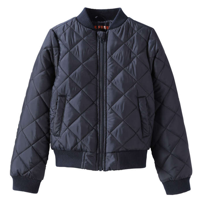 Kid Girls' Quilted Bomber Jacket in JF Midnight Blue from Joe Fresh