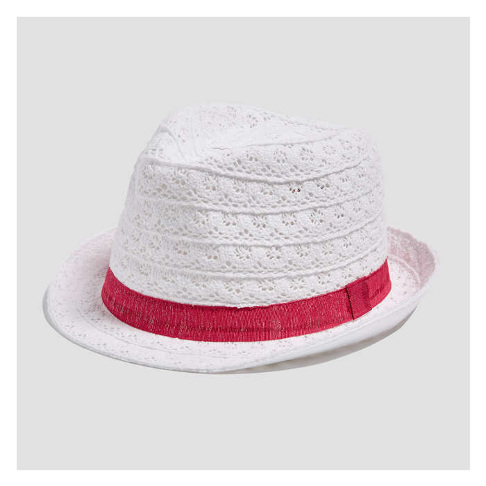 fa9af30e Kid Girls' Eyelet Straw Fedora in White from Joe Fresh