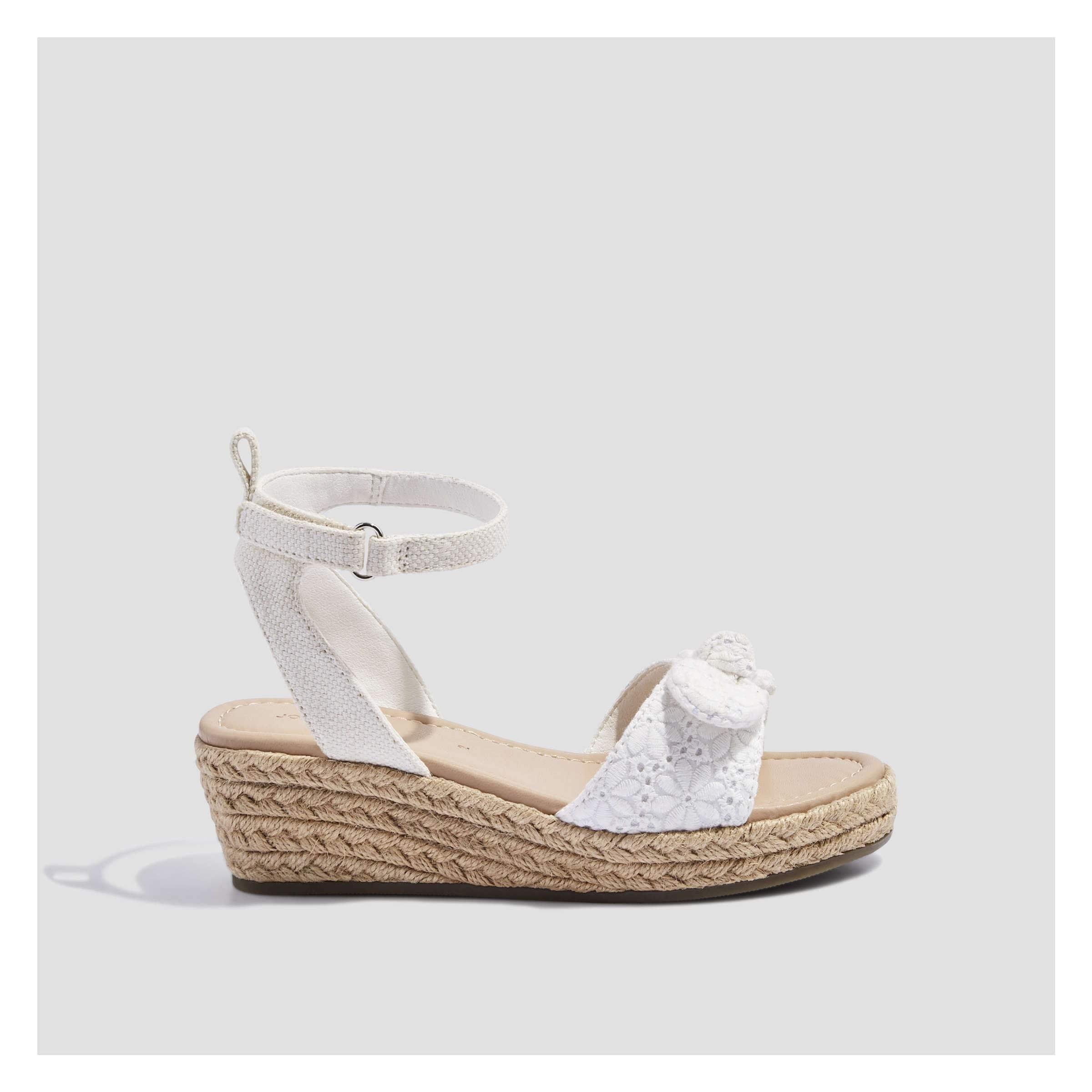 Kid Girls  Eyelet Wedge Sandals in White from Joe Fresh 146cde82ed4d