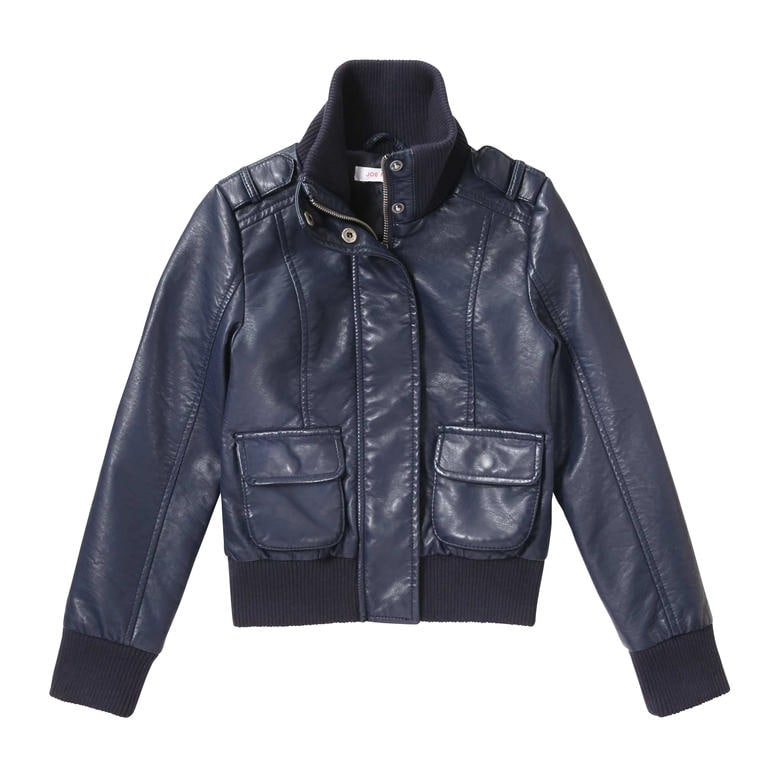 Girls Faux Leather Bomber Jacket htb77l