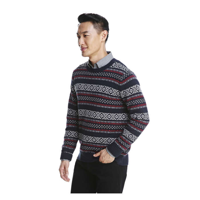 Men's Fair Isle Sweater in JF Midnight Blue from Joe Fresh