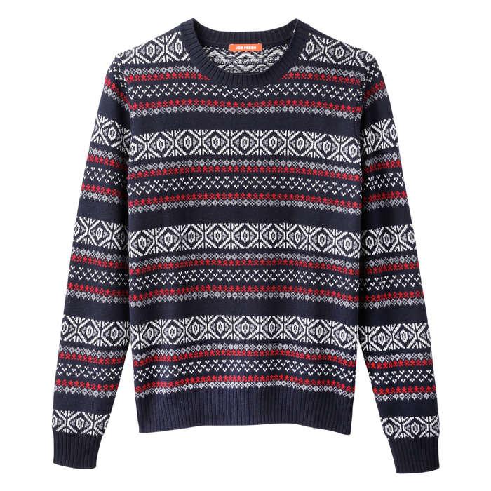 Men's Fair Isle Sweater in JF Midnight Blue from Joe Fresh