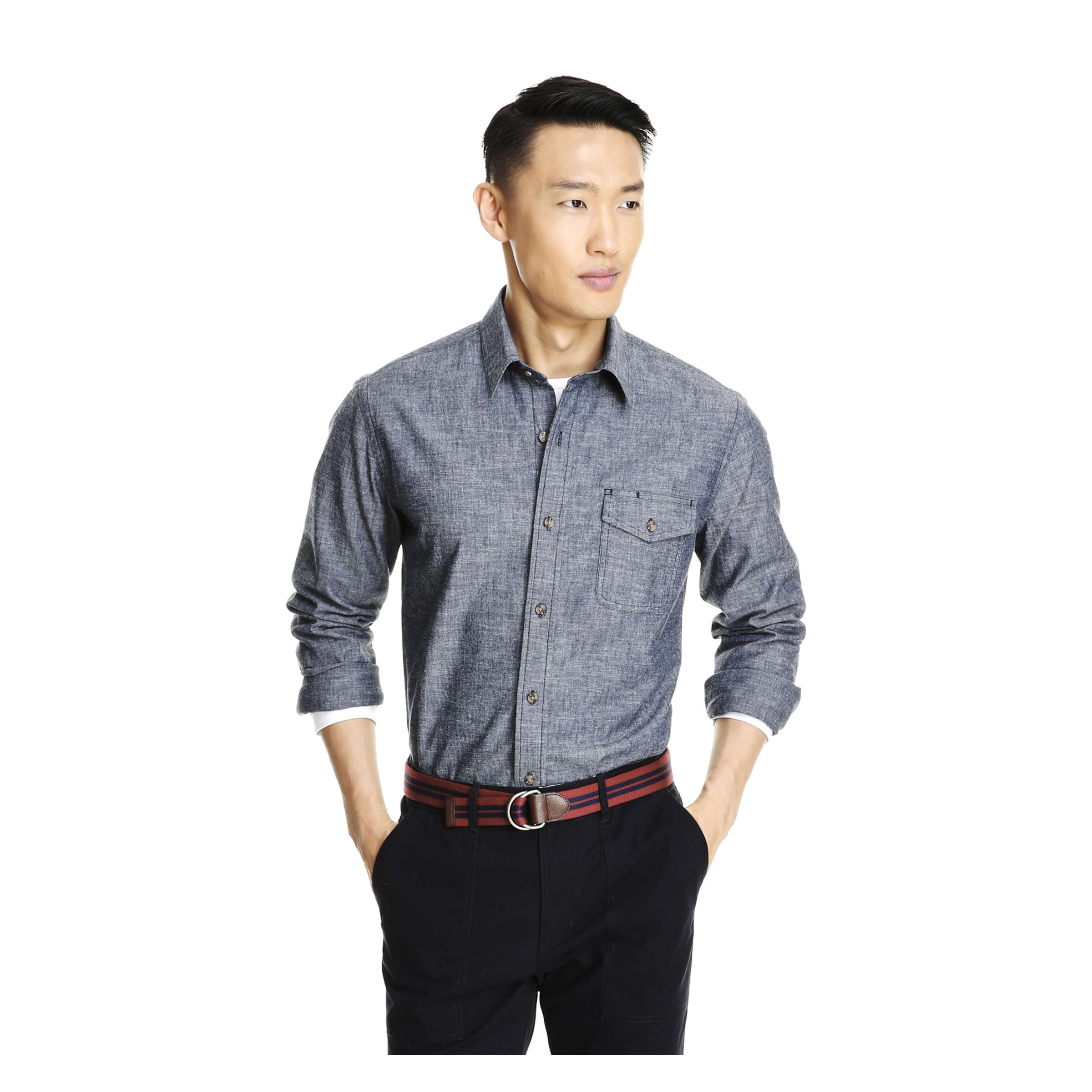 5f60fa06 Men's Button-Front Chambray Shirt in Blue from Joe Fresh