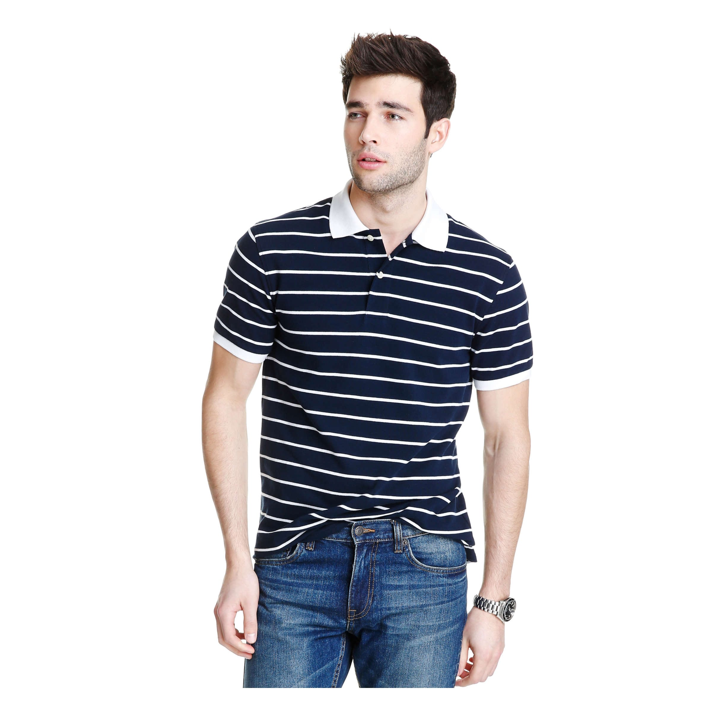 3b66bb520e Men s Stripe Pique Polo in JF Midnight Blue from Joe Fresh
