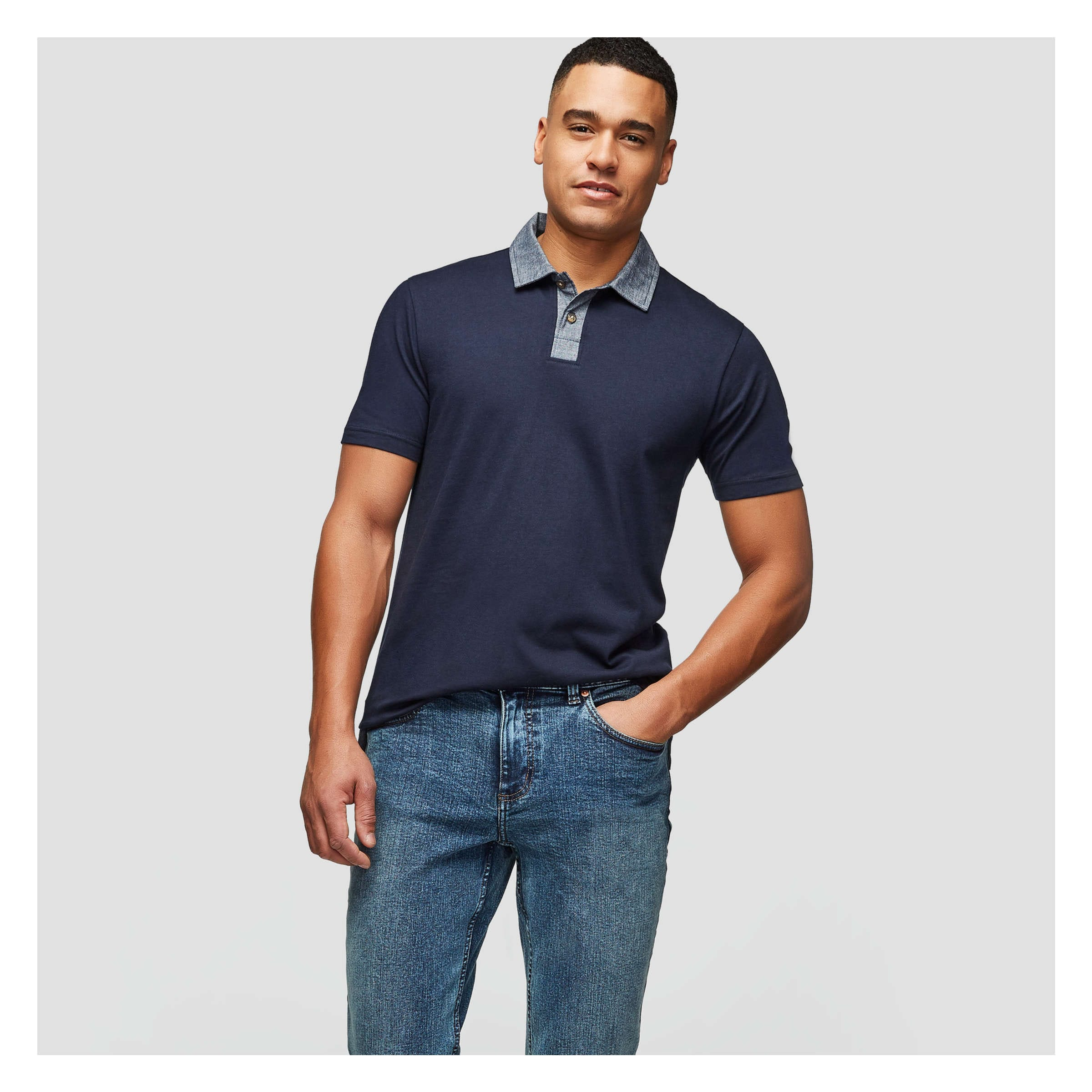7336554e Men's Chambray Collar Polo in JF Midnight Blue from Joe Fresh