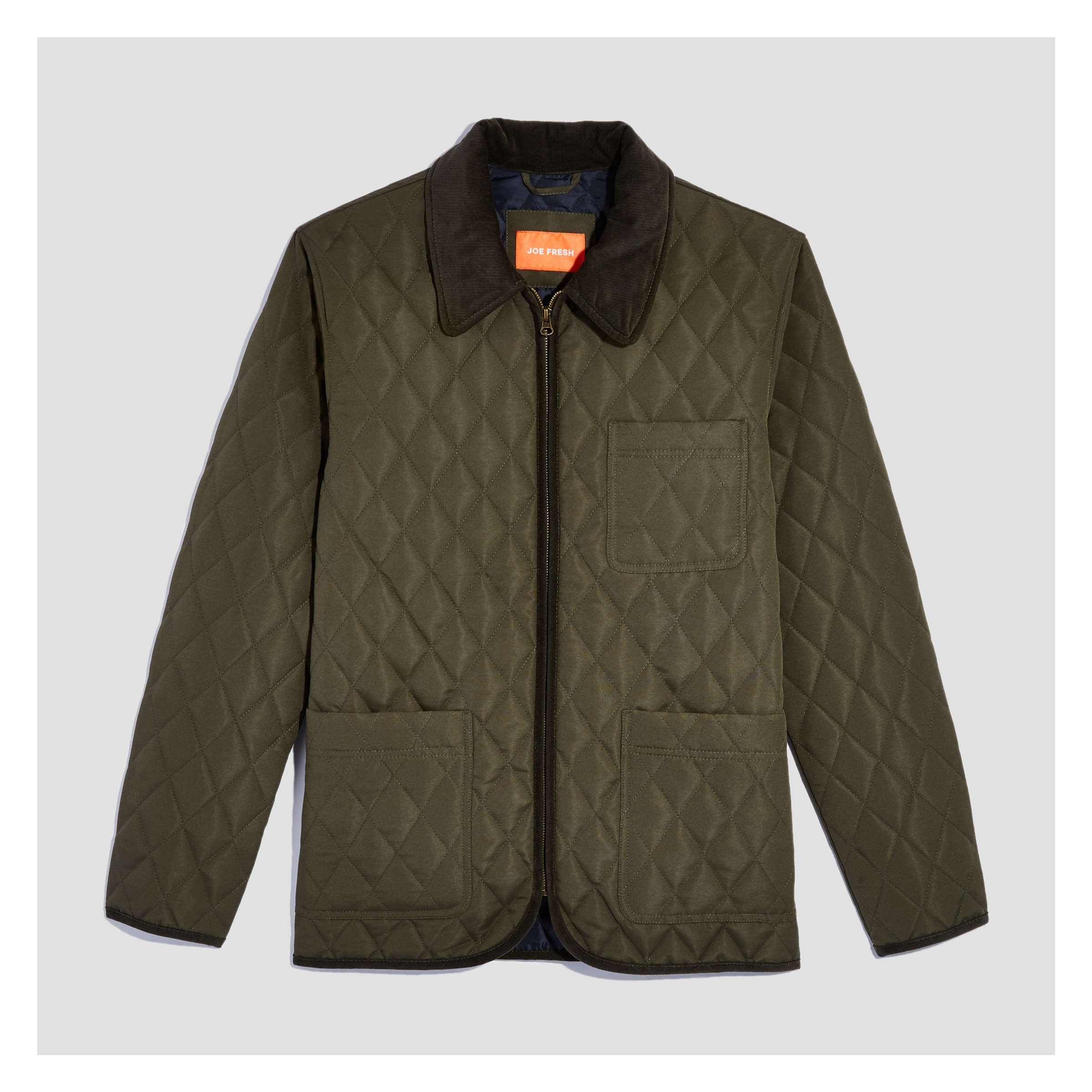 Mens Quilted Jacket In Dark Olive From Joe Fresh