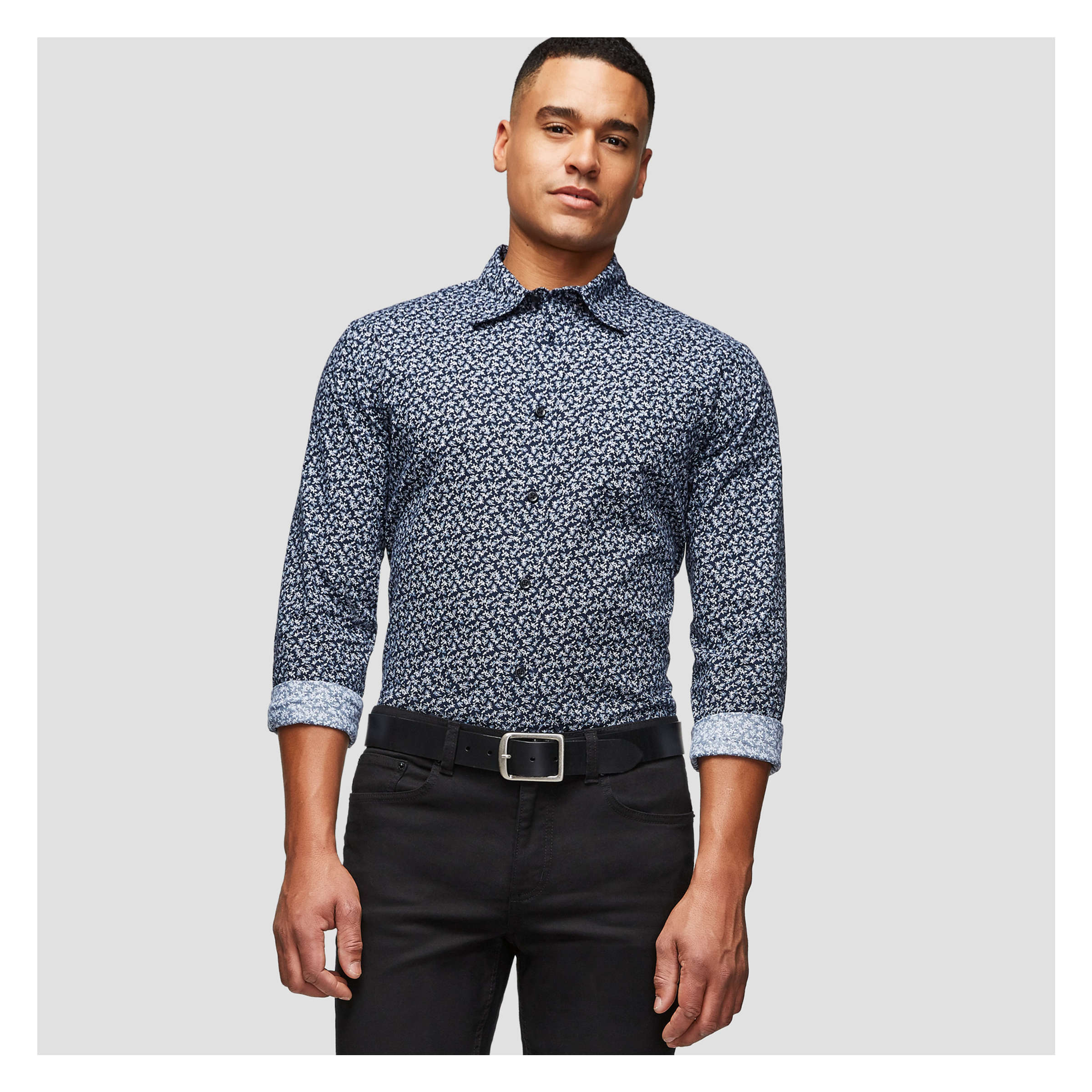 Mens Long Sleeve Print Shirt In Jf Midnight Blue From Joe Fresh