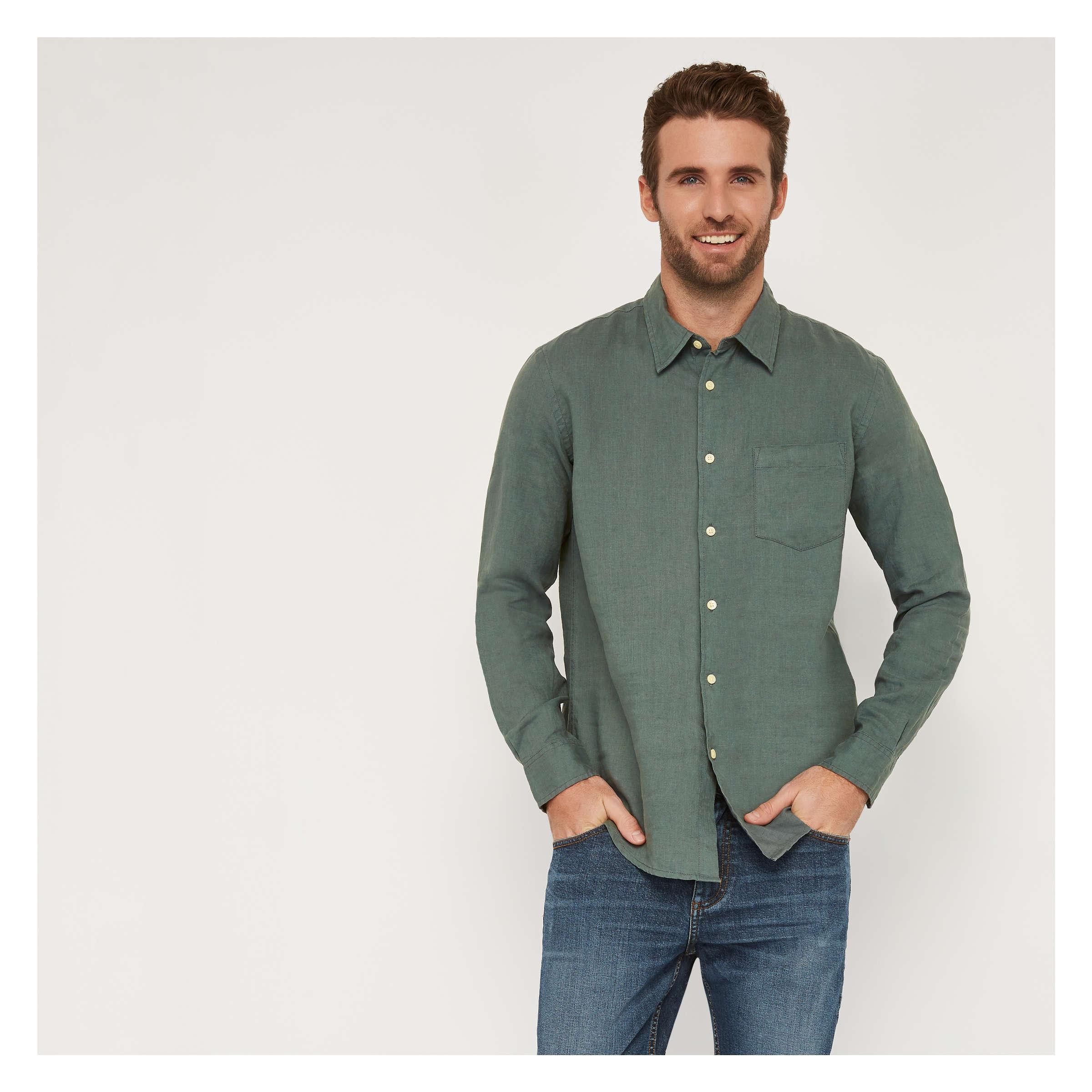86d75a8afc3 Men s Long Sleeve Linen Shirt in Moss Green from Joe Fresh