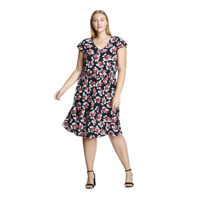Women+ Floral Flutter Sleeve Dress