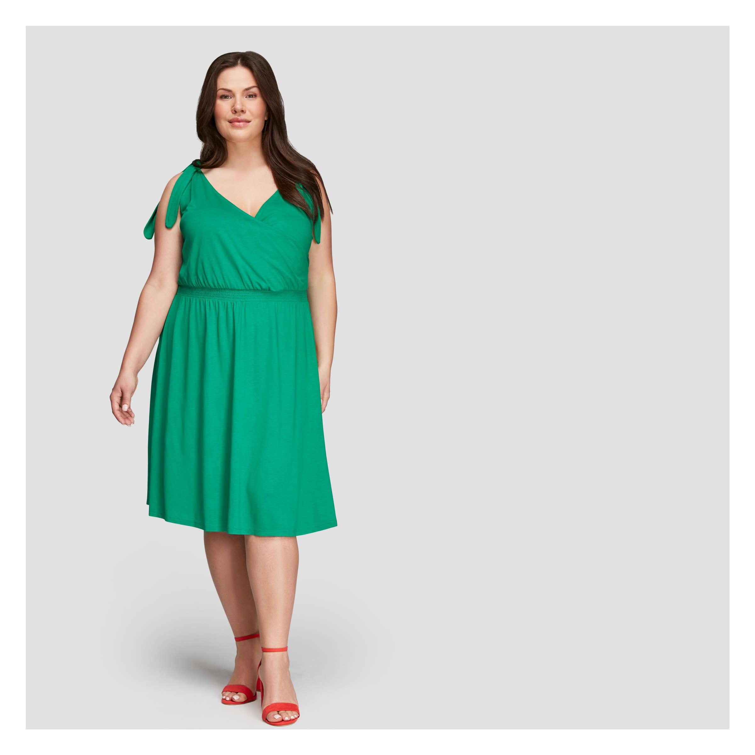 0dfdbadcc5ed Women+ Tie Shoulder Dress in Grass Green from Joe Fresh