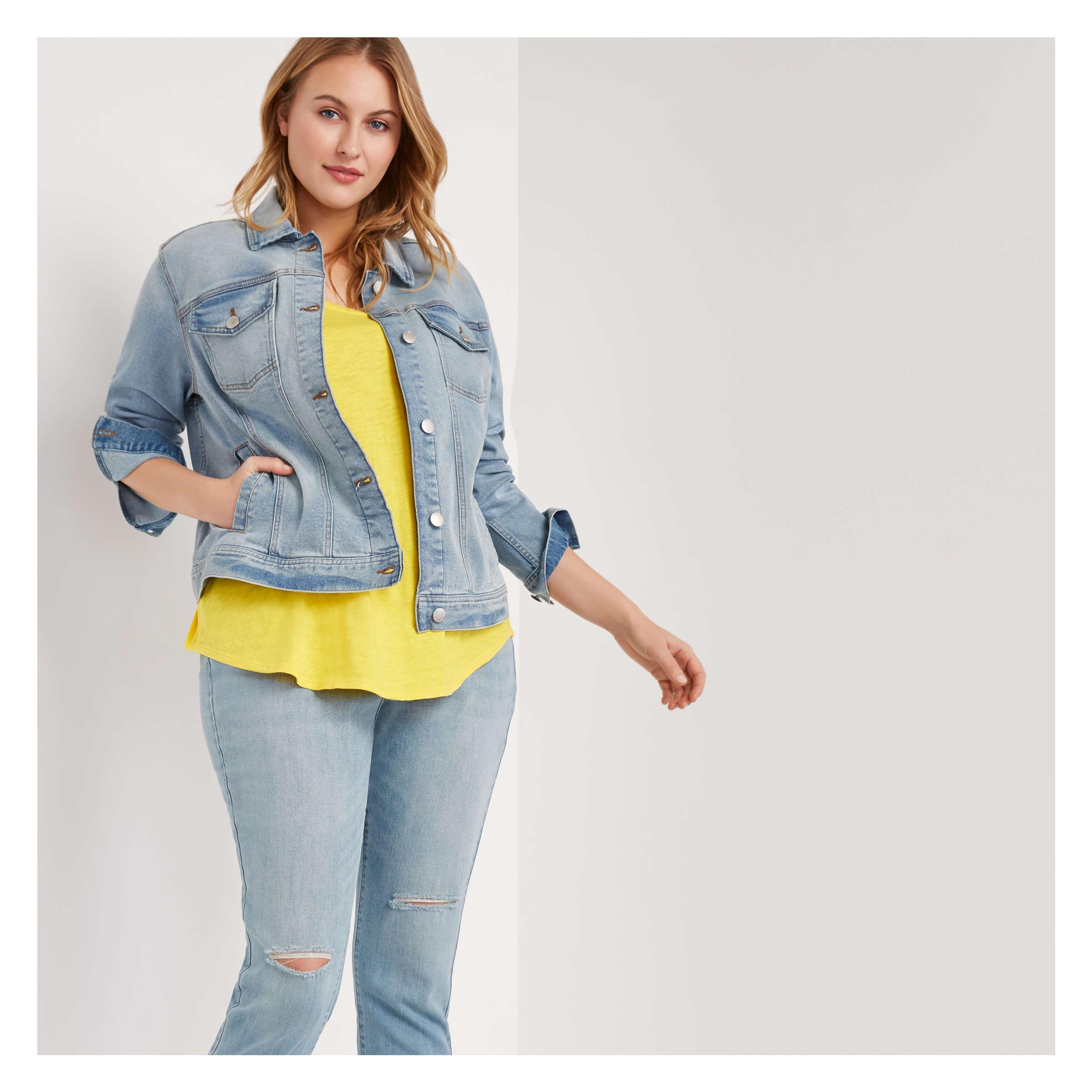 big discount choose genuine on feet shots of Joe Fresh Women+ Light Wash Denim Jacket