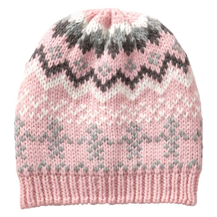 Toddler Girls' Fair Isle Hat in Light Pink from Joe Fresh