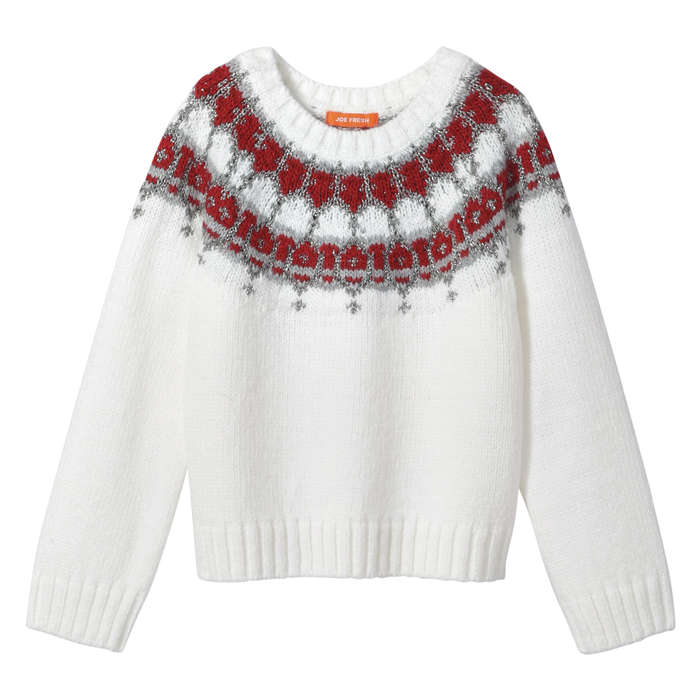 Toddler Girls' Metallic Fair Isle Sweater in Off White from Joe Fresh