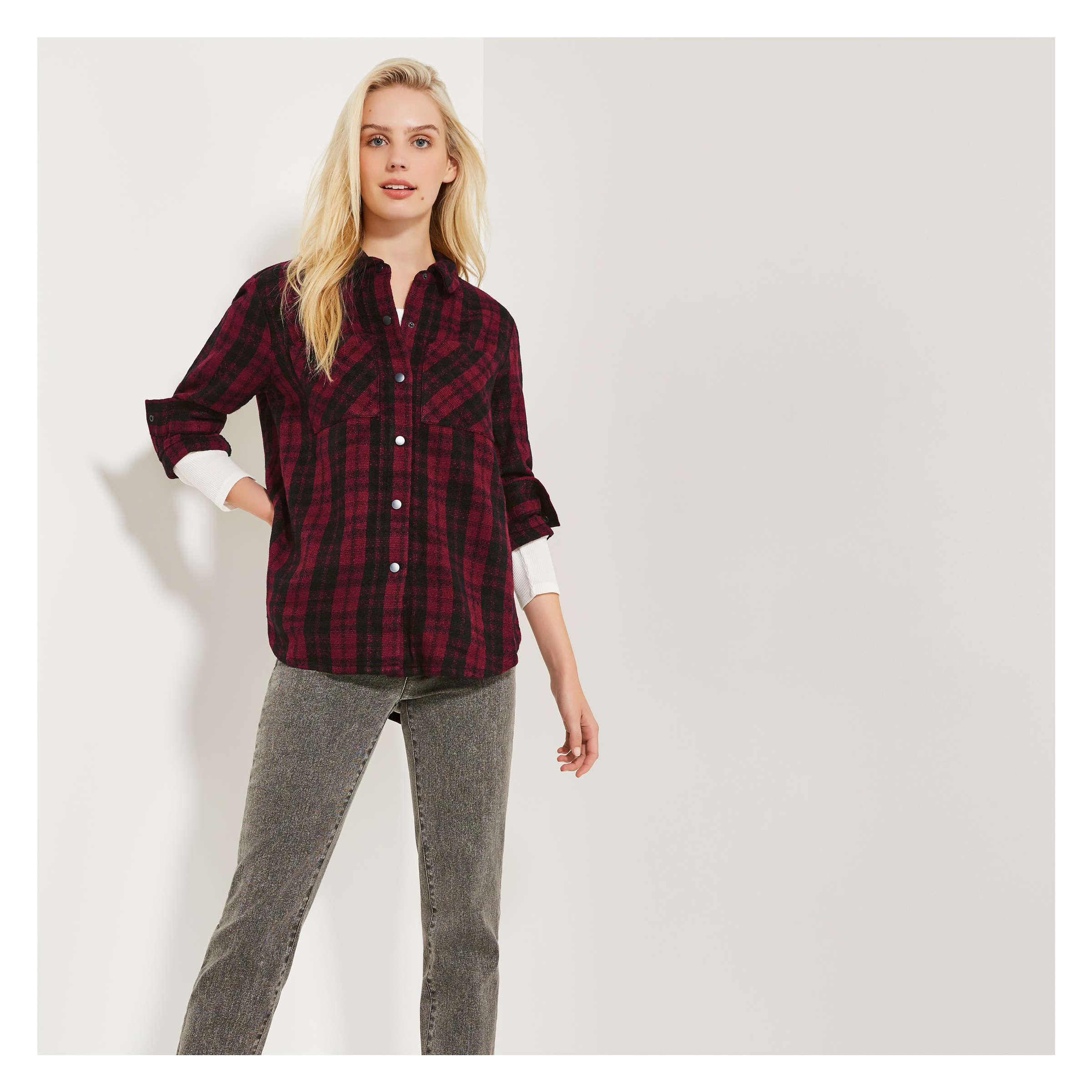 Plaid Tweed Shirt by Joe Fresh