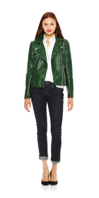 Zip Moto Jacket in Dark Green from Joe Fresh