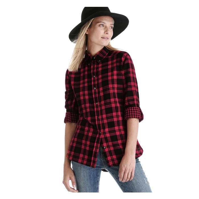 168d3f597 Plaid Button Down Shirt in Red from Joe Fresh