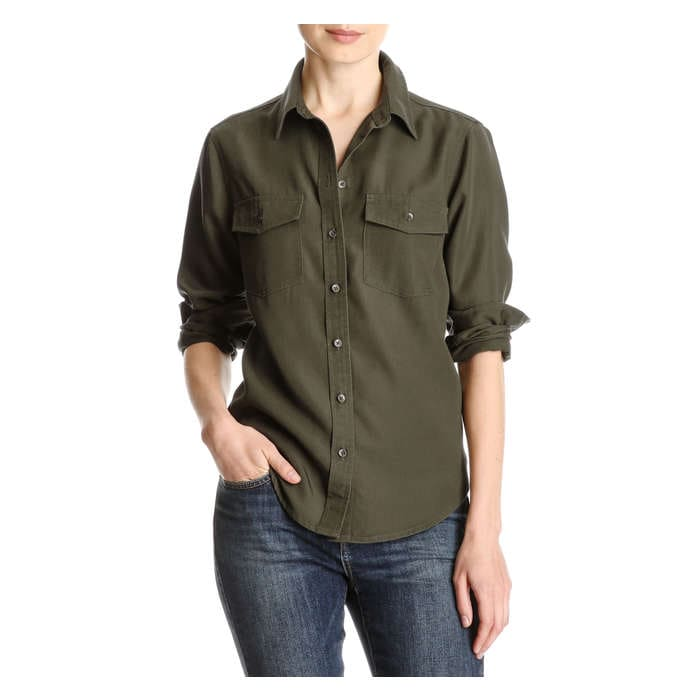 Twill Button Down Shirt In Khaki Green From Joe Fresh