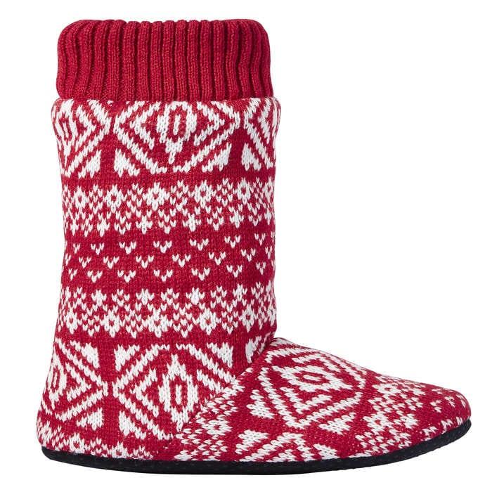 Fair Isle Slipper Boots in Red from Joe Fresh