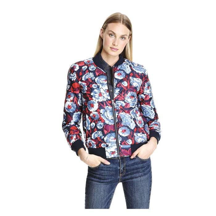 Print Quilted Bomber Jacket