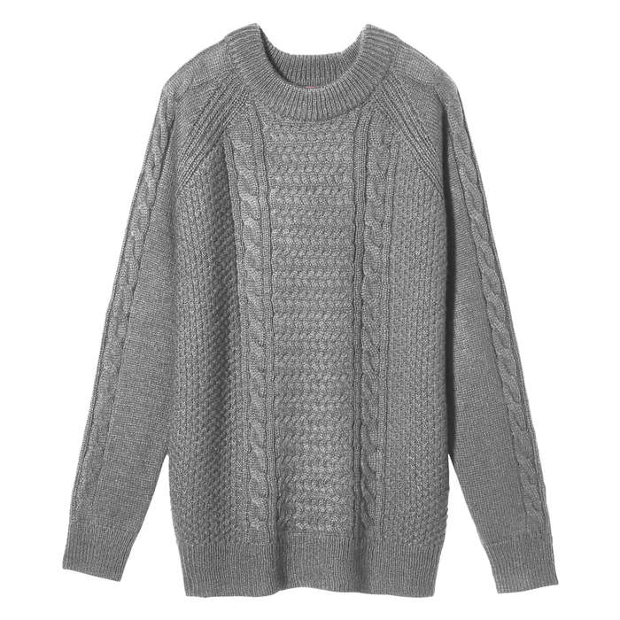 Cable Knit Sweater In Charcoal Mix From Joe Fresh