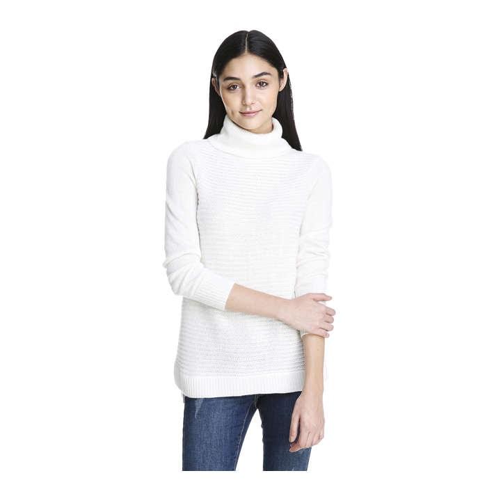 Horizontal Ribbed Turtleneck Sweater in Ecru from Joe Fresh