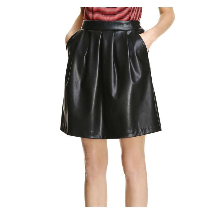 Pleated Pleather Skirt