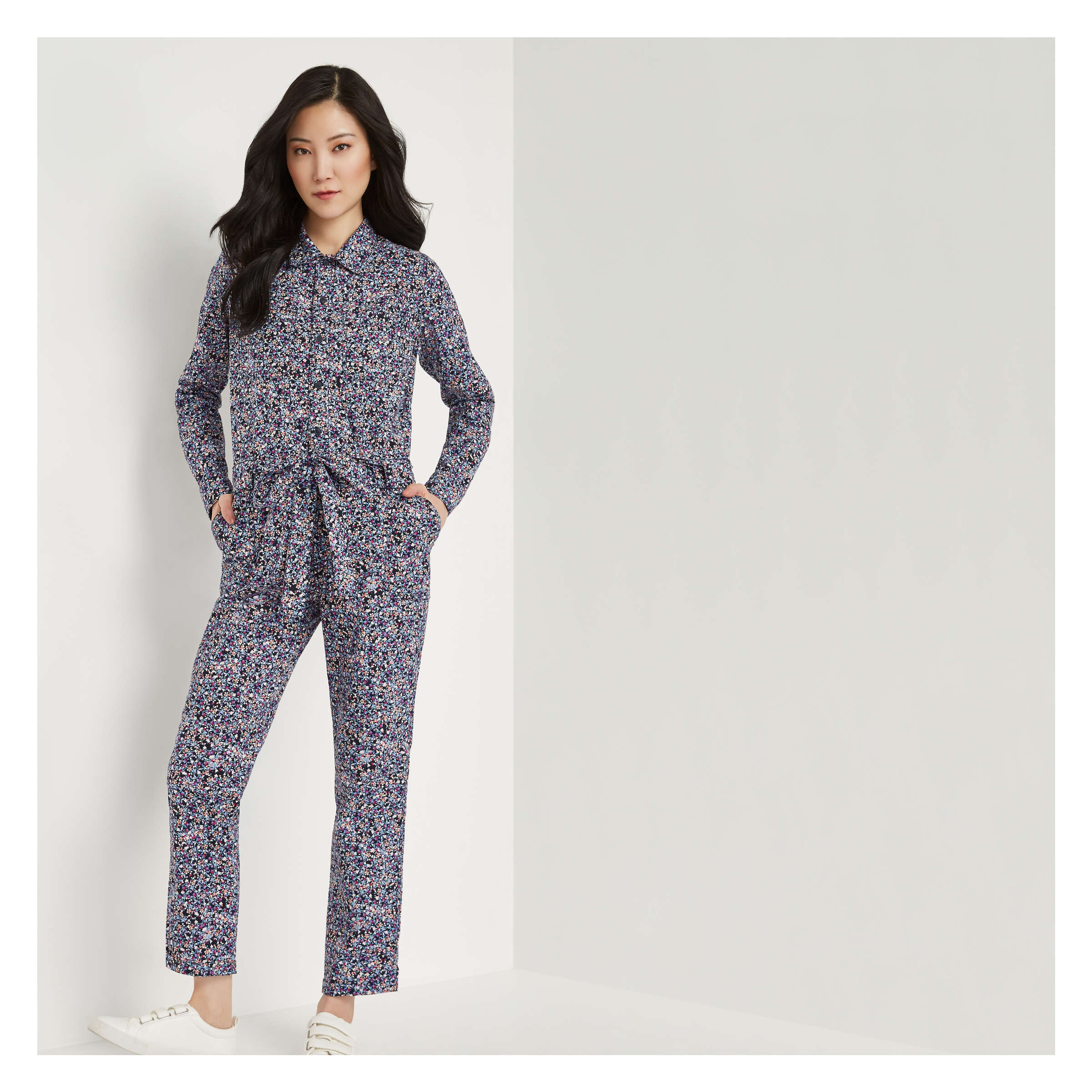Print Jumpsuit in Coral from Joe Fresh 7fc76ce0bfcb