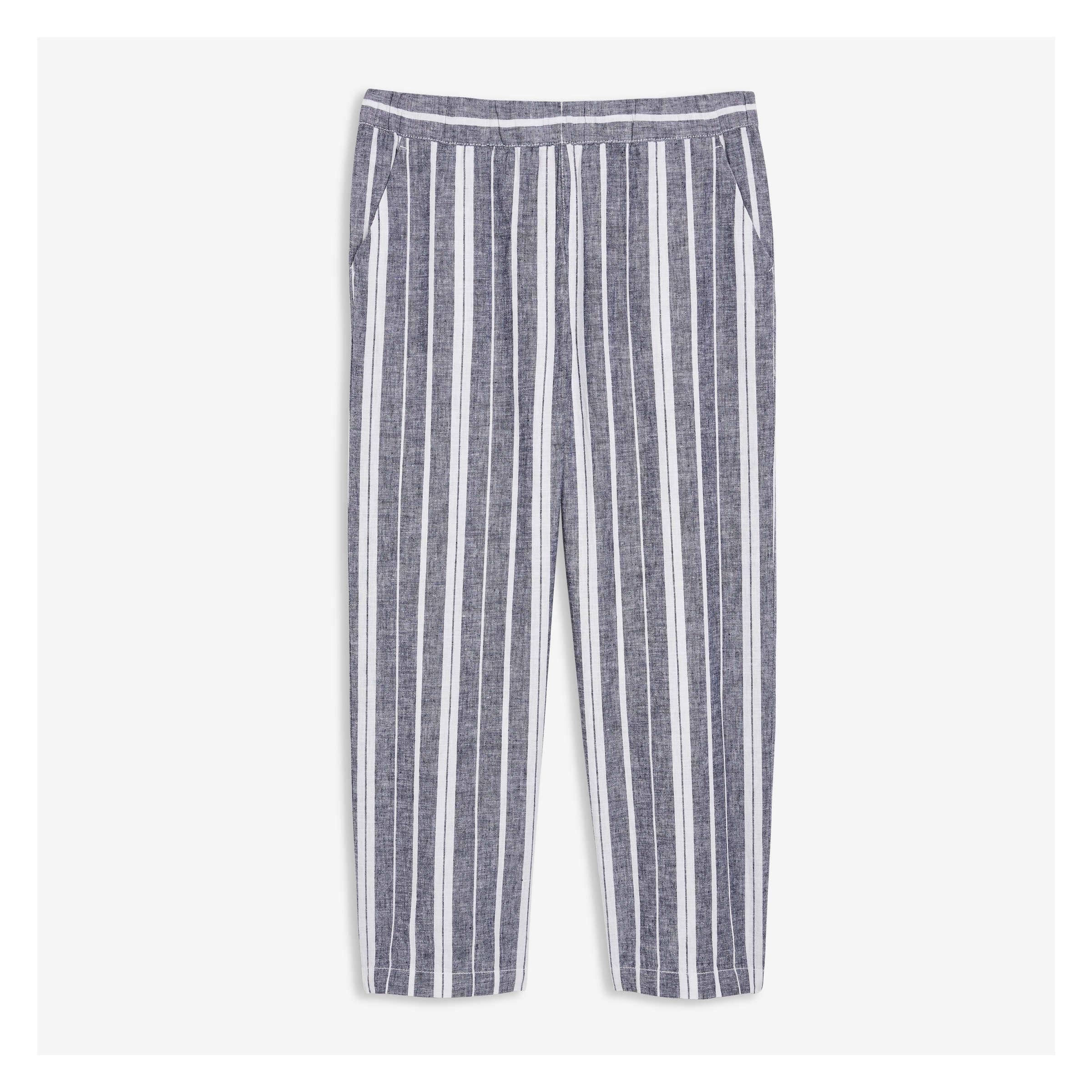 5eb86c3acc Linen Blend Stripe Crop Wide Leg Pants in Light Navy from Joe Fresh
