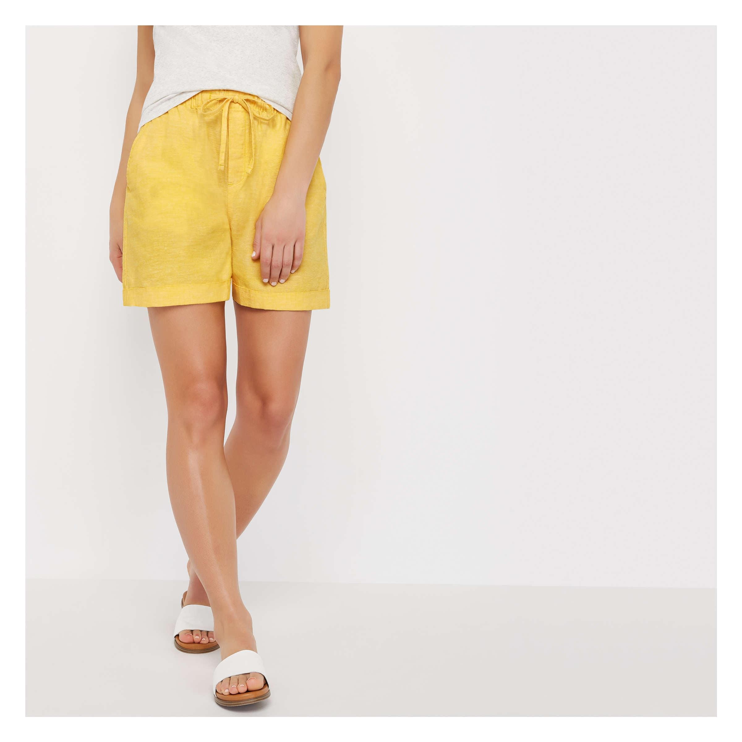 3d4e1736f8896d Crosshatch Linen Blend Short in Yellow Dandelion from Joe Fresh