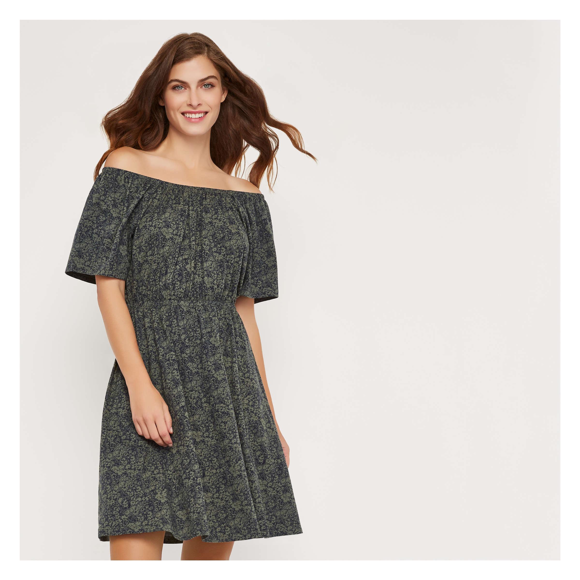 5dc61965b4449 Joe Fresh Print Shirred Neck Dress